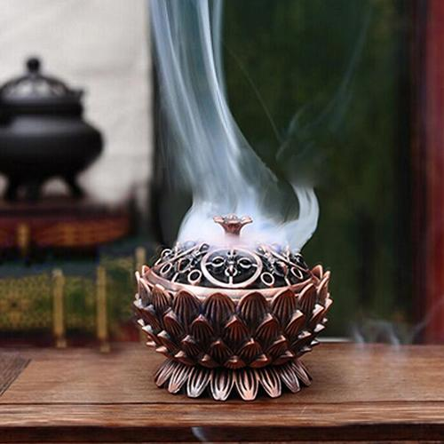HOT SALE! Lotus Shape Zinc-copper Alloy Incense Burner Brass Mini Sandalwood Censer Creative Home Office Decor Incense Holder
