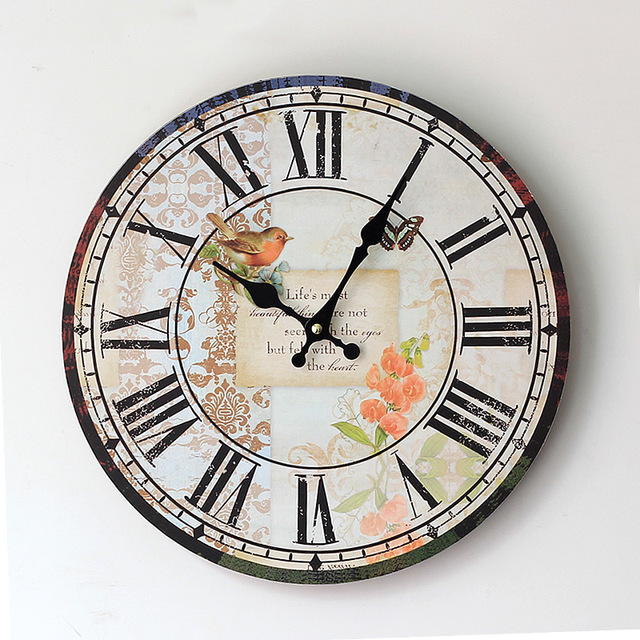 2015 new real duvar saati zakka style electronic wall clock painted wood round quartz clocks antique - Painted Wood Home 2015