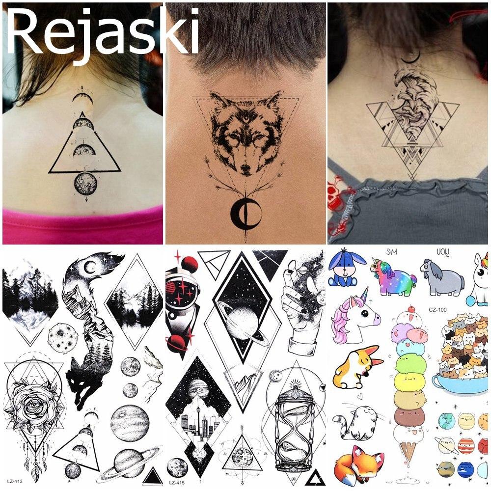 Geometric Wolf Woman Tattoo