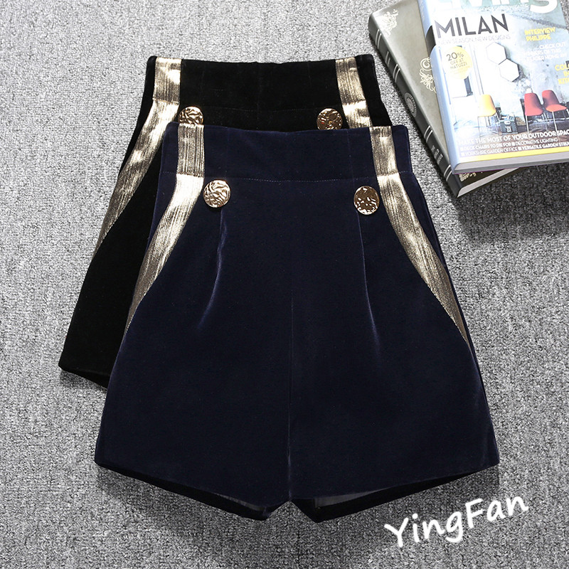 Velour   Shorts   High Waist   Short   Women Autumn Winter New Fashion Black / Blue   Shorts   Ladies Wide Leg Trousers Boots Plus   Shorts