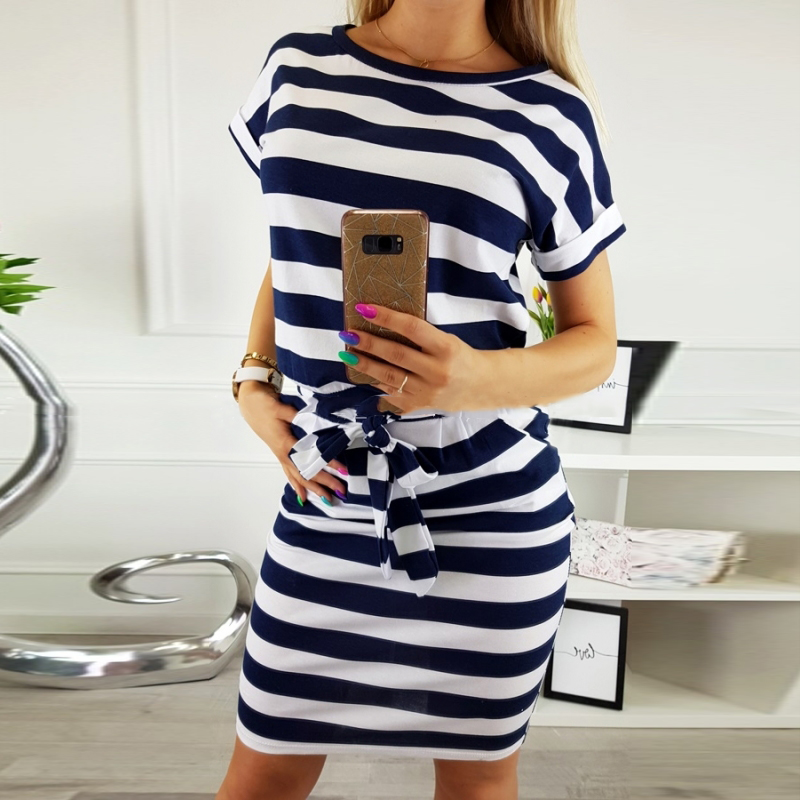 Summer 2019 Casual Women Dress Short Sleeve O-neck Black Blue Striped Sexy Dress Fashion Office Dress Plus Size Women Clothing