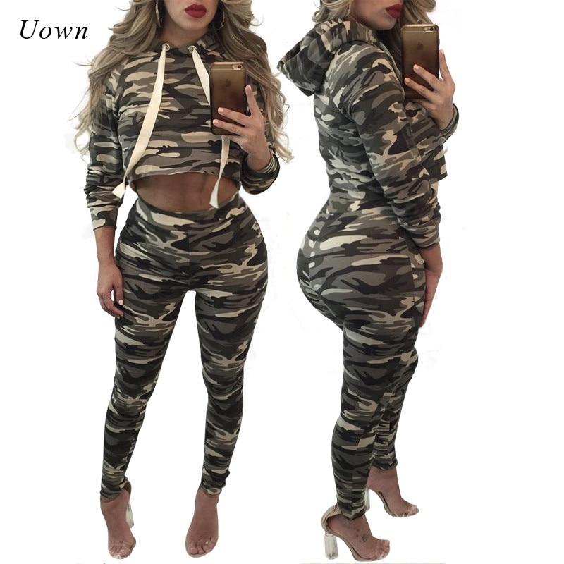 Camo Tracksuit Women 2 Piece Set 2017 Pullover Hoodies Sweatshirt Crop Top Pant Sets Sweatsuit Sportswear Women Jogger Suits
