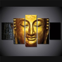 5 Piecesset Hd Printed The Golden Buddha Painting Canvas Print Room Decor Print Poster Picture Canvas