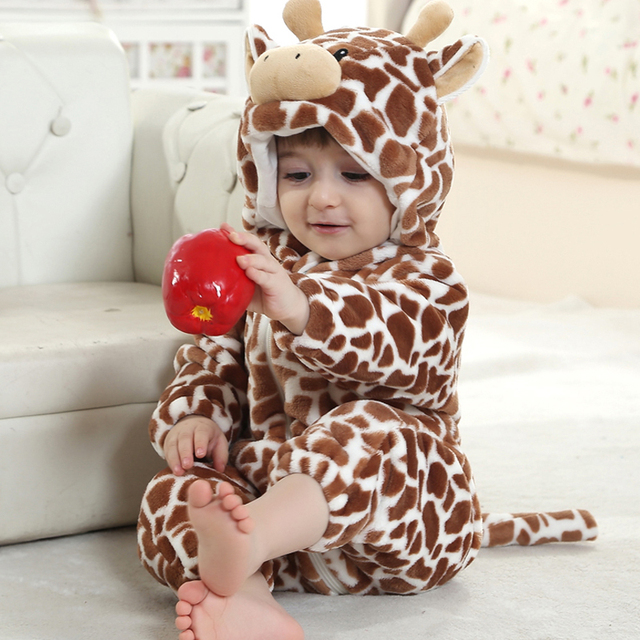 Lovely Flannel Cow Romper Jumpsuit for 0-36 Months Baby Autumn Cartoon Animal Hooded Infant Onesie Toddler Overalls Baby Clothes