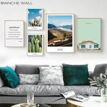Scandinavian Tropical Landscape Posters Modern Prints Cactus Bus Wall Art Canvas Painting Nordic Decoration Pictures