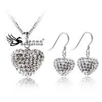 Free Shipping Women Jewelry Women Lady Jewelry Set Handmade Jewellery Cute Heart Necklace And Earring