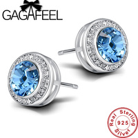 New Arrival 100 Real 925 Sterling Silver Earring Shiny Crystal Stud Earrings For Women Luxury Accessories