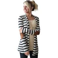Spring Autumn Women Cardigan kimono Long Sleeve Cardigan Long Loose Stripes Sweaters for Female Outerwear Coat Cardigan
