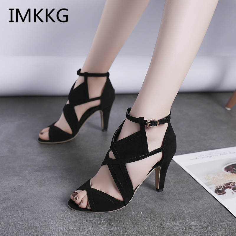New Design Women Sandals Platform Summer Shoes Woman Gladiator Sandals High Heels Cropped Stitched Open Toed Sandals A00054
