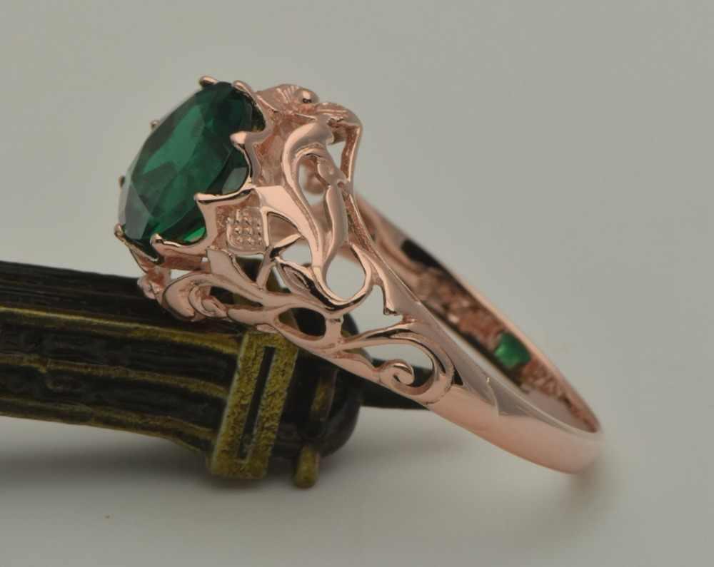 Szjinao moda flor Real 14k oro rosa joyería mujeres boda lujo Natural Esmeralda anillos al por mayor procesamiento personalizado Noble