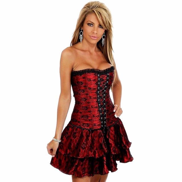 Black Sexy Gothic Steampunk Corsets Dress Waist Trainer Corsets And Bustiers Espartilho Waist Cincher Corset Skirt For Women