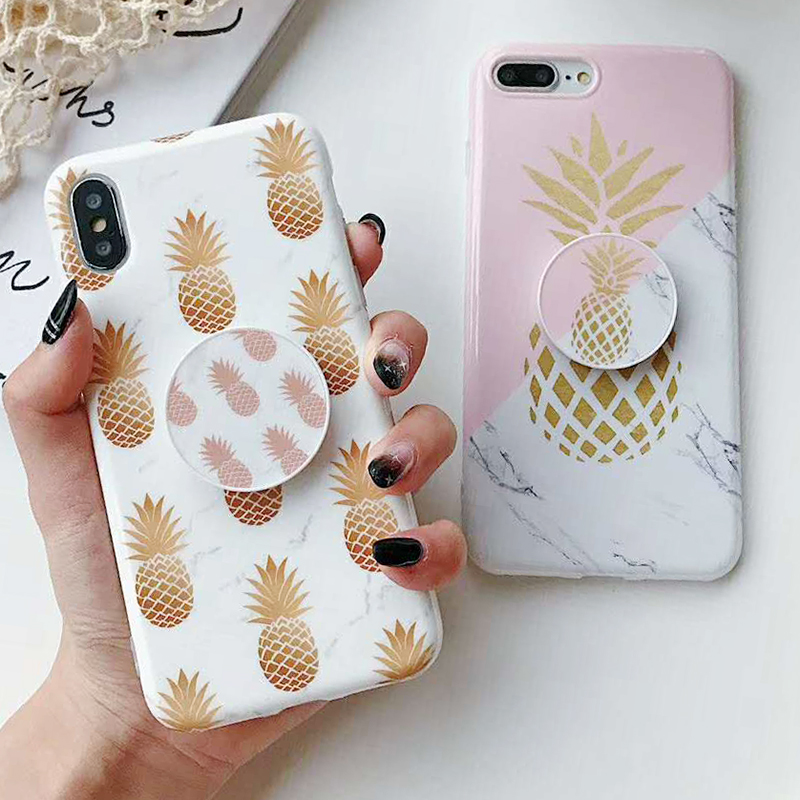 Bracket Gold Pineapple Phone Cases For iPhone XS Max XR XS 6 6S 7 8 Plus X Soft IMD Marble Texture Phone Back Cover Coque Gift (1)