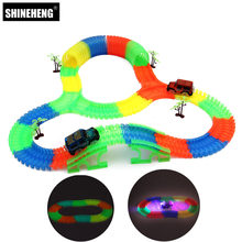 Shineheng Miraculous Track Bend Flex Glow in the Dark Assembly Toy 56/112pcs Glow Race Stunt Track Set + 1pc LED Car(China)