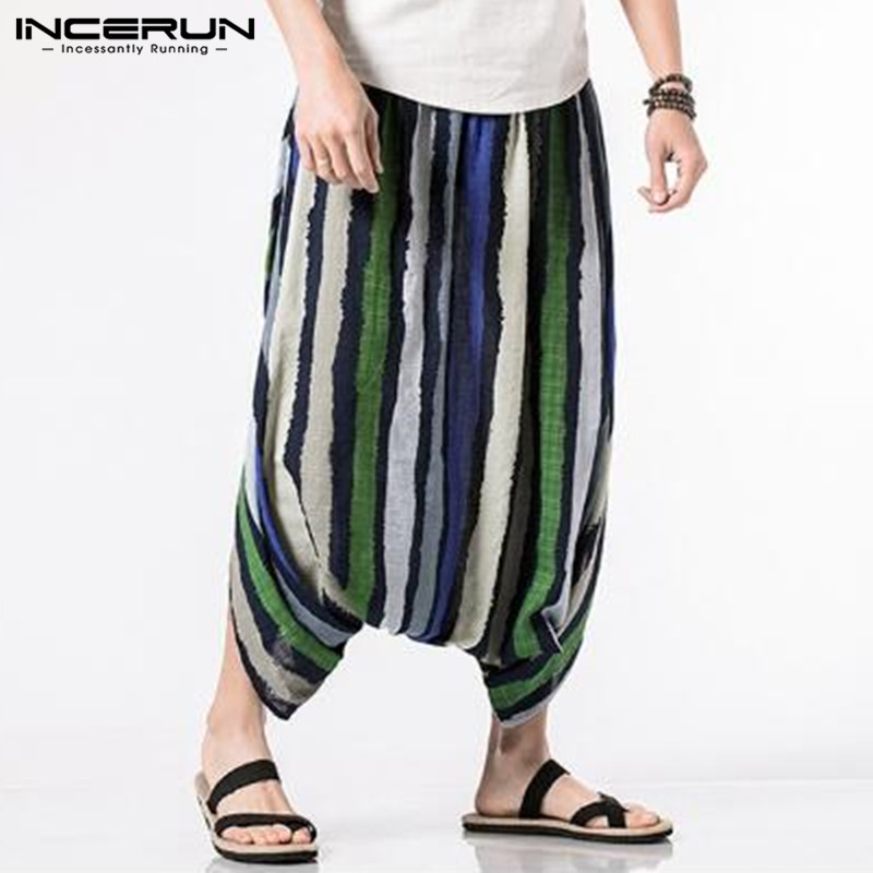 2018 Summer Men's Pants Cotton Ankle-Length Strip Print Design Elastic Waist Big Crotch Baggy Trousers Casual Harem Hip Hop