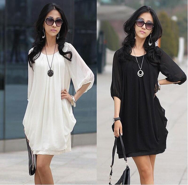New Fashion BlackWhite NEW Chiffon Cocktail Womens Blouse Mini Dress M-XXXXL