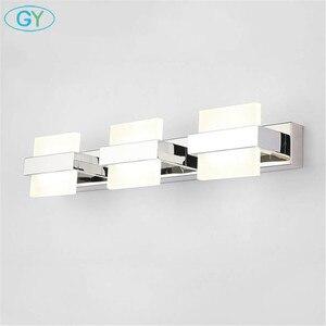 Image 4 - Nowoczesne oświetlenie LED lustro łazienka Home Decor kinkiet wodoodporna stal nierdzewna kinkiet 110V 220V makijaż Vanity oprawa światła