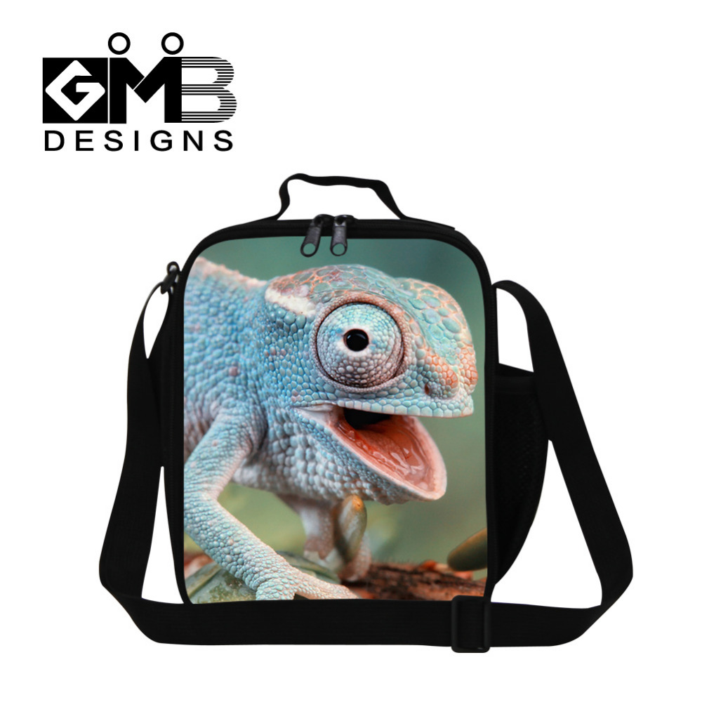 Animal Print Thermal Kids Lunch Bag For Men Children Insulated Waterproof lizard Food Carry Storage Picnic Bag Thermal Bag Bolsa