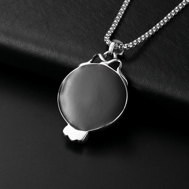STAINLESS STEEL SKULL MIRROR NECKLACE