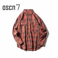 OSCN7 Autumn Classic Casual Oversizer Shirt Men 2017 New High Quality Check Plaid Streetwear Shirt Men