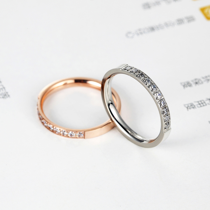 Top Quality Fashion Jewelry Crystal Wedding Rings Stainless Steel Rose Gold Color Female Ring For Woman And Girl Best Gift 3