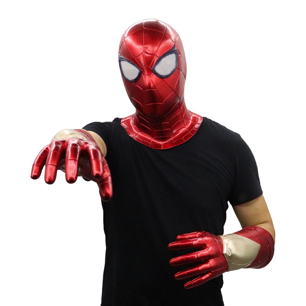 New The Avengers Spider-Man Cosplay Prop Iron Man High Tech PVC Spiderman Induction LED Glove Masks Thanos Gloves Halloween Toy