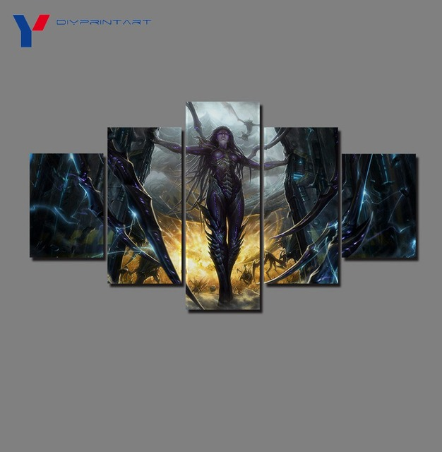 StarCraft 2 Heart of The Swarm Game Poster 5 Panels Art Painting Living Room Decoration A0096 2
