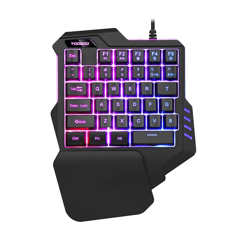 wired single hand gaming keyboard usb professional desktop led backlit mechanical feel keyboard. Black Bedroom Furniture Sets. Home Design Ideas