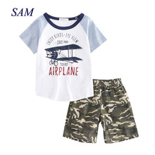 ФОТО 2018  causal boys clothing s childrens print aircraft t shirt camouflage shorts 2  suits cotton clothes  for kids