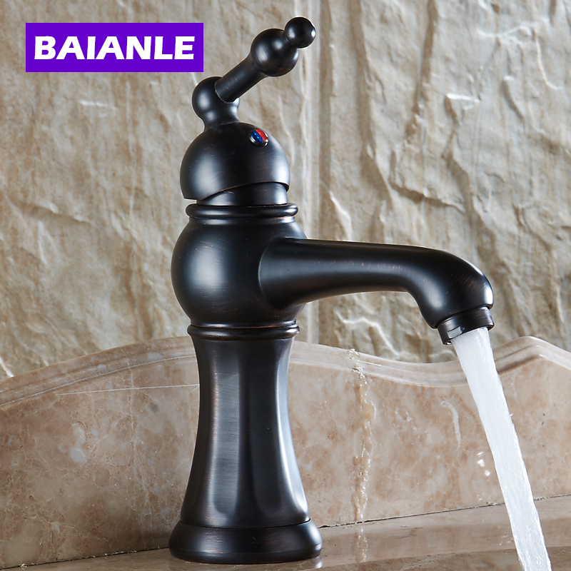 New Black Copper Bathroom Faucet Fashion Vintage Hot And Cold Faucet Wash Basin Mixer Sink Single Handle single Hole Faucet copper toilet wash basin faucet hot and cold bathroom sink basin faucet mixer water tap single hole basin faucet chrome plated