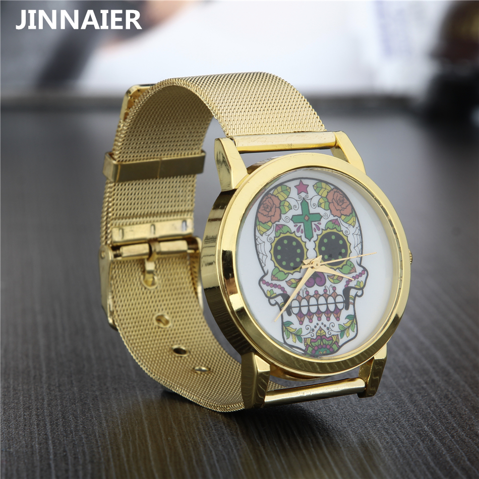 2017 Fashion Casual Mens Watch Gold Stainless Steel Watches Men Quartz Wristwatches Sliver Skull Clock for Man Christmas Gift цена и фото