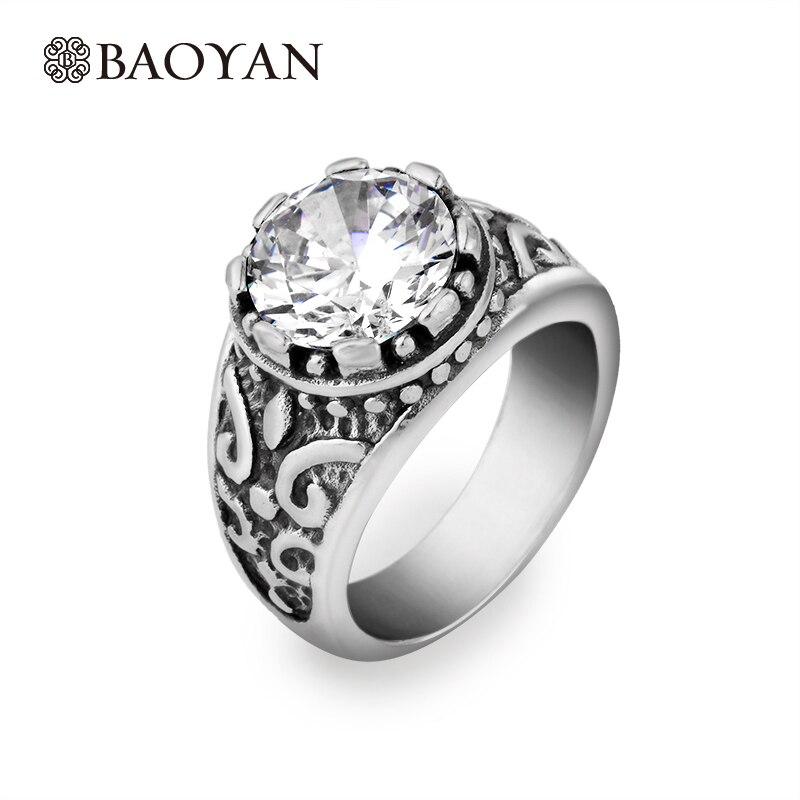 ᗖFashion Prong Setting Crystal Punk Ring For Men 316L Geometric ...