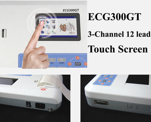 Touch Screen Digital 3 Channel 12 lead ECG machine + software Electrocardiograph Machine equipment medical  heart rate moniter promise china ecg supplier single channel electrocardiograph with software pro ecg01g