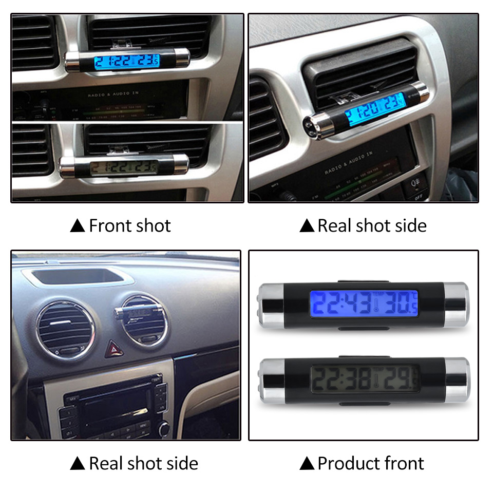 Digital car clock LCD Temperature Thermometer Clock 2 in 1 Car Digital Time Clock Air Vent Outlet Clip On clock in car