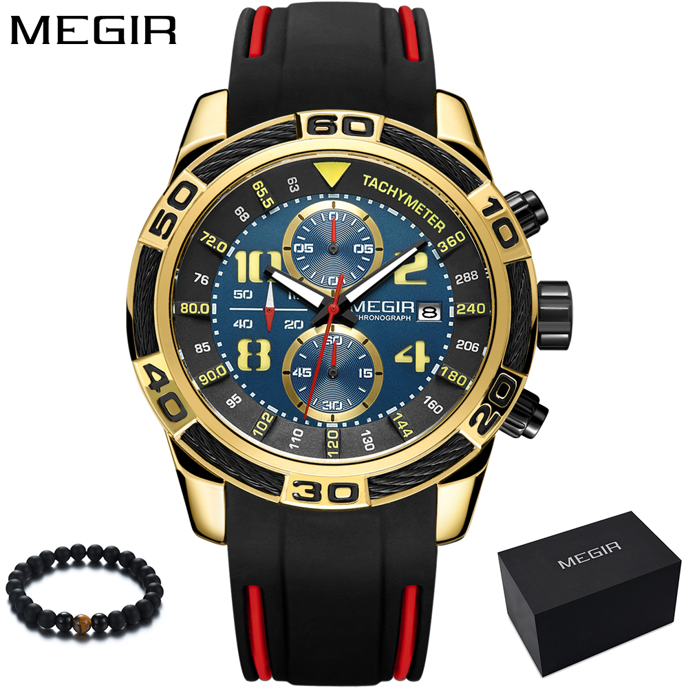 Megir Mens Quartz Watch Top Brand Luxury Quartz Sport Watch Men Gold Silicone Men's Wrist Watches Army Military Clock Men 2018 megir men s wrist watch top luxury brand mens chronograph clocks military sport army clock men male classic quartz watches 3010