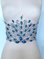 ZBROH Pure hand made clear AB colour/Peacock blue sew on Rhinestones applique crystals patches 32*17cm dress accessory