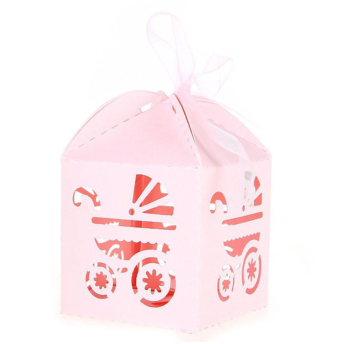 50 шт. пустой коляски с Лента Свадебная коробка конфет