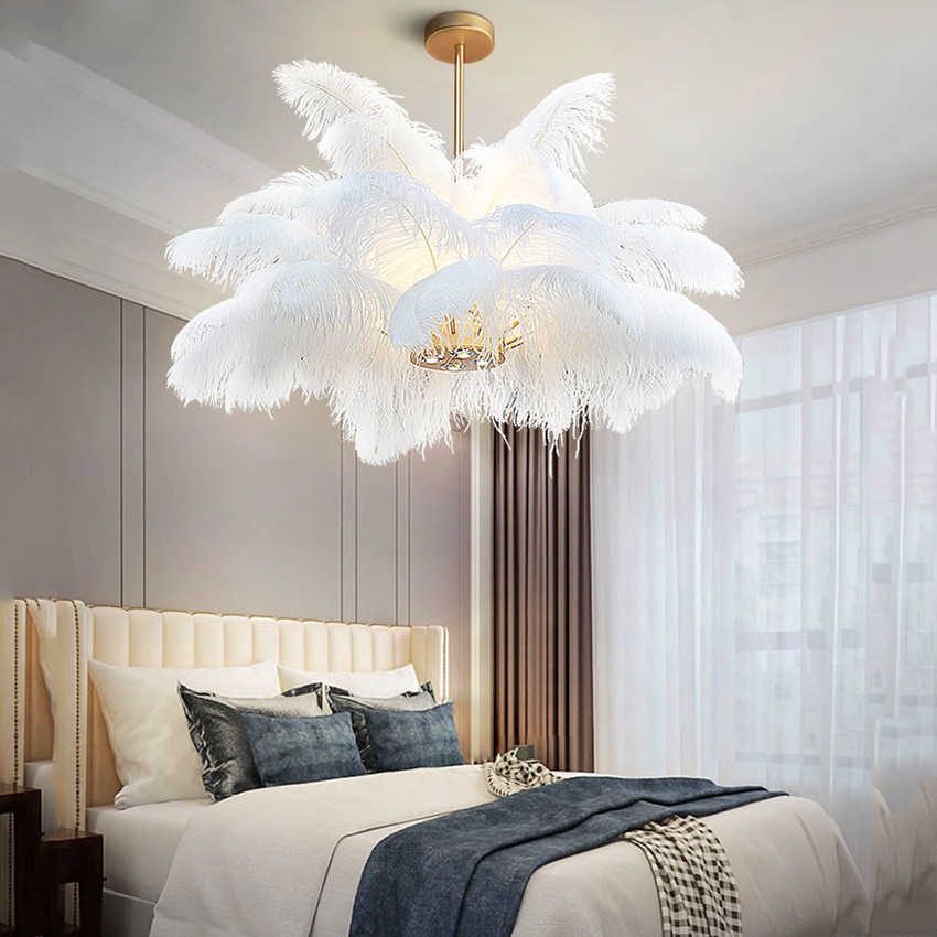 Nordic Pendant Lights Natural Ostrich Feather Pendant Lamp Living