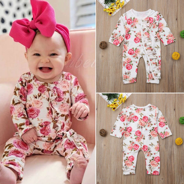 0f64dd8b84a Newborn Baby Girl Floral Romper Fashion New Long Sleeve Button Party  Jumpsuit Holiday Girls Casual Cotton