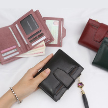 2019 New Arrival Split Cow Leather 3 fold women fashion wallet Vintage cow short for acessories
