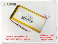 3 7V 12000mAH 1169125 Polymer Lithium Ion Li Ion Battery LG CELL For Tablet Pc Power