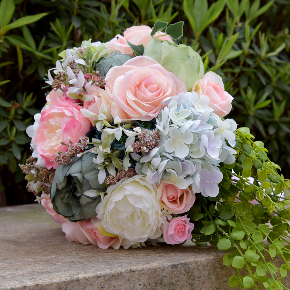 Kyunovia Faux Bouquet Silk Roses Wedding Flowers Country Bouquet