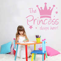 Fashion Princess Sleep Here Frase Wall Stickers Art Decal For Girl Room Decal Kids Bedroom Sticker vinilo pared