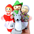 4 pçs/lote Crianças Brinquedos Fantoches de Dedo boneca de Pelúcia boneca de Brinquedo Educativo Mão História Porcos para o Menino Menina