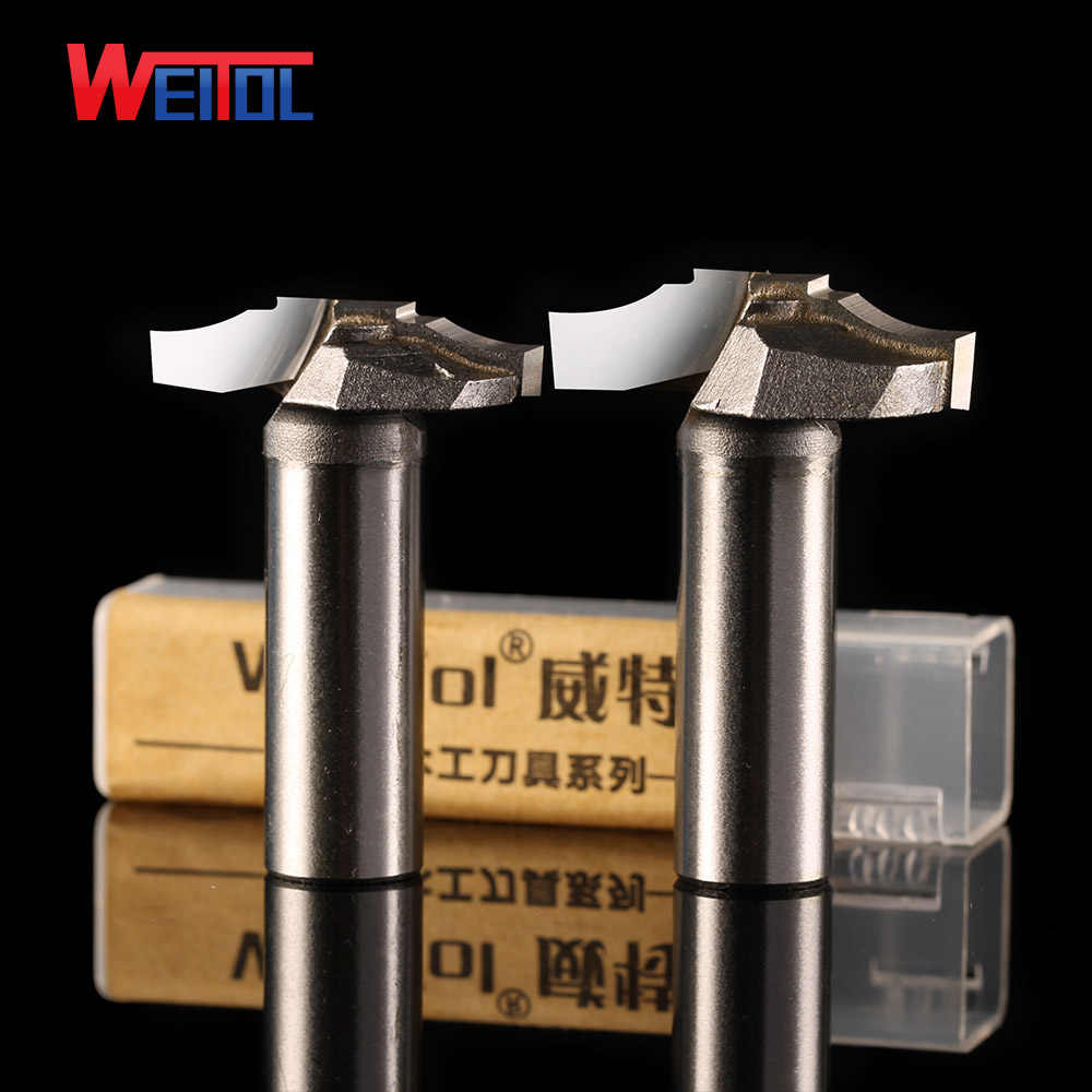 Weitol 1pcs 1/2 inch Woodworking Cutter Double Edging Router Bits for wood carbide thin Trapezoidal carving bit high grade carbide alloy 1 2 shank 2 1 4 dia bottom cleaning router bit woodworking milling cutter for mdf wood 55mm mayitr