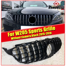 GTS style W205 C63AMG C180 C200 C300 C350 C-Class Grille grill ABS Black without Camera For MercedesMB Without Emblem 15-18