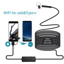 Cámara endoscópica WIFI Micro USB tipo c cámara de inspección USB 720P HD IP68 8MM Tubo impermeable serpiente boroscopio Cámara