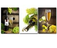 3 PCS Pintura Da Lona Moderna Arte Da Parede de Frutas Uvas para Vinho De Vidro Picturte Prints Pintura para Cozinha Sala Arte Da Parede Sem Moldura
