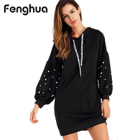 Fenghua Elegant Pearl Beading Winter Dress Women 2018 Long Sleeve Sweater Dress Female Casual Lantern Hoddy
