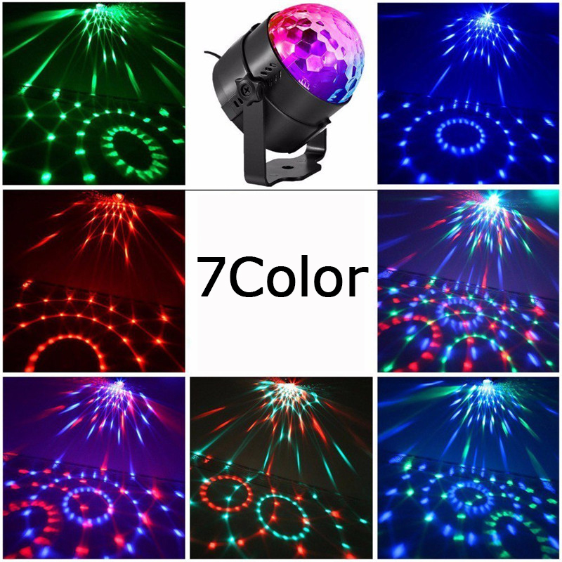 Купить с кэшбэком ZjRight Sound Activated Disco Lights Rotating Ball Lights colorful LED Stage Light For kids Christmas Home KTV Xmas Wedding Show