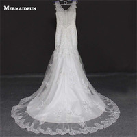 2017 Real Photos Mermaid V Neck See Through Back Bling Sequined Lace Appliques Tulle Wedding Dresses